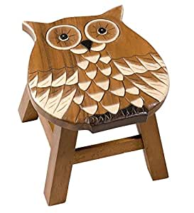 Amazon Com Hand Carved Wooden Stools In Owl Wood Step
