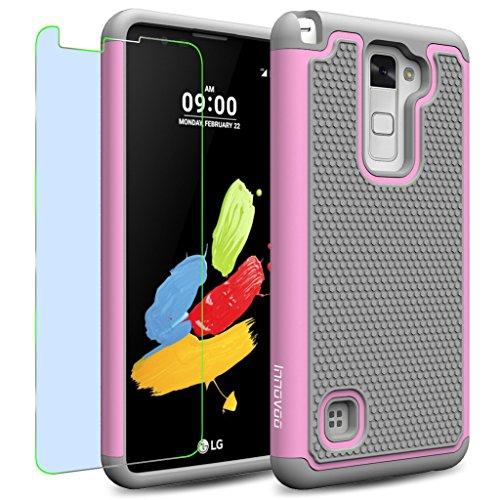 LG Stylus 2 / LS775 / K520 Case, INNOVAA Smart Grid Defender Armor Case W/ Free Screen Protector & Touch Screen Stylus Pen - Grey/Light Pink