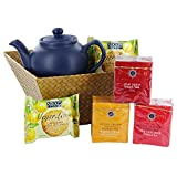 Classic Gift Basket with Teas, Teapot and Cookies