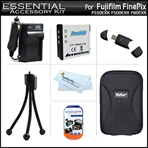 Essential Accessory Kit For Fujifilm FinePix F550EXR F500EXR F80EXR F600EXR F505 Digital Camera Includes Replacement (1100Mah) NP-50 Battery + AC/DC Rapid Travel Charger + Hard Case + USB 2.0 SD Reader + Screen Protectors +More