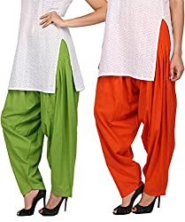 Womens Cottage Combo Pack of 2 Pure Cotton Semi Patiala Bottoms