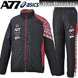 asics アシックス A77 裏起毛 ウィンドブレーカー ジャケット パンツ 上下セット XAW720 XAW820 9023 ブラック×レッド (L)