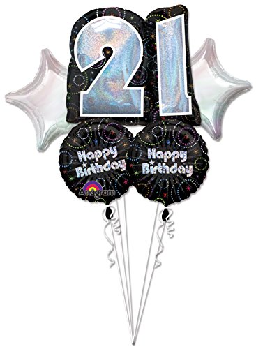 Anagram Time To Party Happy 21st Birthday Mylar Foil Balloon Bouquet Set