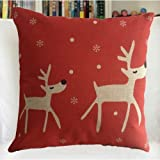 YPY Creative Fashion Cotton Linen Square Decorative Throw Pillow Cover Colored Drawing Red Base Reindeer 18 X18