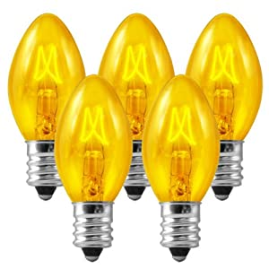 C7 - Transparent Yellow - Triple Dipped - 5 Watt - Candelabra Base - Christmas Lights - 25 Pack