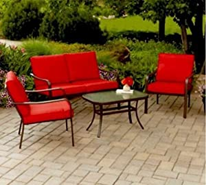 Relax on your patio or backyard while lounging with family on this Cushioned 4-Piece Patio Conversation Set. This comfortable & weather proof outdoor patio furniture set in bright red is perfect for your deck,bbq's & entertaining. from Mainstays