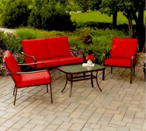 Relax on your patio or backyard while lounging with family on this Cushioned 4-Piece Patio Conversation Set. This comfortable & weather proof outdoor patio furniture set in bright red is perfect for your deck,bbq's & entertaining.