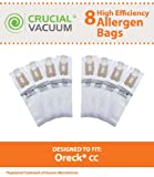 Oreck Type CC Vacuum Cleaner Bags 8-Pack - Allergen Filtration with Closure - To Fit Style CC, and ALL XL Upright Models - Compare to Oreck Part # CCPK8, CCPK8DW; Designed & Engineered By Crucial Vacuum