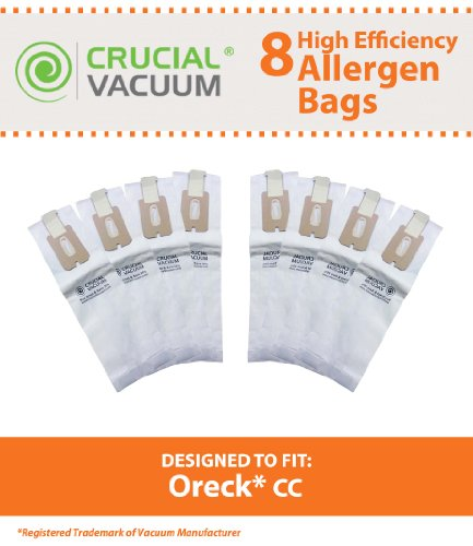 Oreck Type Cc Vacuum Cleaner Bags 8-Pack - Allergen Filtration With Closure - To Fit Style Cc, And All Xl Upright Models - Compare To Oreck Part # Ccpk8, Ccpk8Dw; Designed & Engineered By Crucial Vacuum front-4068