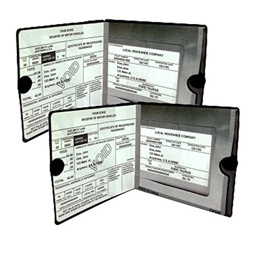 ESSENTIAL Car Auto Insurance Registration BLACK Document Wallet Holders 2 Pack – [BUNDLE, 2pcs] – Automobile, Motorcycle, Truck, Trailer Vinyl ID Holder & Visor Storage – Strong Velcro Closure On Each – Necessary in Every Vehicle – 2 Pack Set