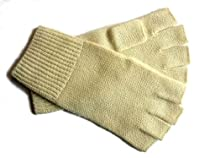 Cream Pure 100% Cashmere Fingerless Half Finger Gloves