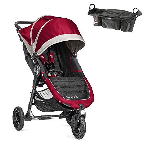 City Mini Gt Single Stroller In Crimson/Gray W Parent Console front-180976
