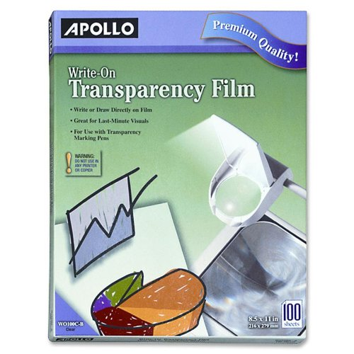 Apollo Write-On Transparency Film, 8.5 x 11 Inches, Clear, 100 Sheets per Box (VWO100C-BE)