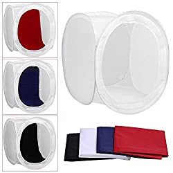 Powerpak 120x120x120 cm Photo Studio Shooting Foldable Light Tent Box Diffusion Soft Box Kit with 4 Chroma Key Backdrops (Red, Dark Blue, Black, White) for Photography