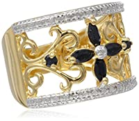 Yellow Gold Plated Sterling Silver Sapphire with Diamond-Accent Flower Ring from Amazon Curated Collection