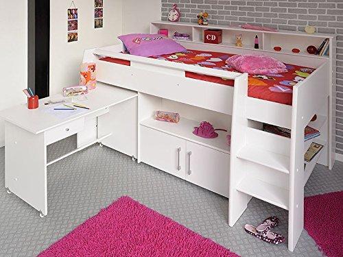 Hochbett, Kinderbett Sway 1B, 211x132x130cm weiß Kinderzimmer Bett Schreibtisch günstig online kaufen