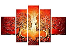Santin Art -Wood Framed Artwork the Lovers Tree High Q. Wall Decor Landscape Painting on Canvas 5pcs/set Mixorde