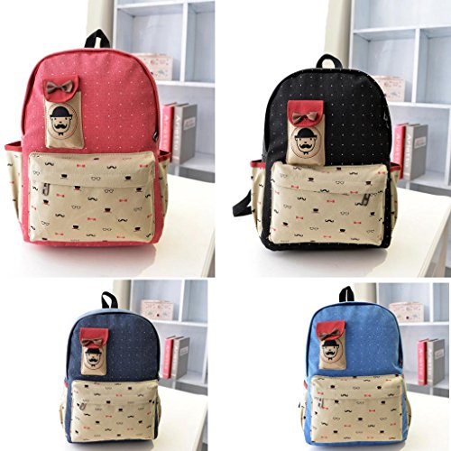 Red Girl'S Cute Pretty Vintage Canvas Satchel Backpack Rucksack Shoulder School Bag