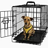"OxGord 20"" Dog Crate, Single-Door Folding Pet Cage with Heavy Duty Metal Wires and Removable ABS Plastic Floor Tray. Animal Kennel Fence folds into a Carry Case w/ Handle for Portable Car SUV Travel House, Indoor & Outdoor Exercise Playpen / Home 