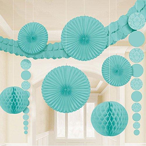 "Amscan Robin's Egg Damask Wedding Decorating Kit (9 Piece), 15.5 x 10.5"", Blue"