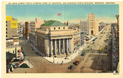1940s-vintage-postcard-main-street-south-showing-bank-of-montreal-and-dominion-public-building-winni