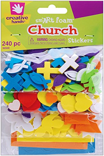 Creative Hands by Fibre-Craft - Mini Church Foam Stickers 240/Pkg - Arts and Crafts - No Glue or Scissors Required - For Ages 3 and Up (Kids Church compare prices)