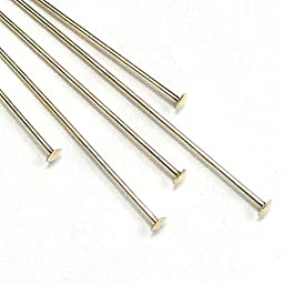 10 pcs 14k Gold Filled Headpins 1.6mm Head Pins 24ga 24 Gauge 2\'\' / Findings / Yellow gold