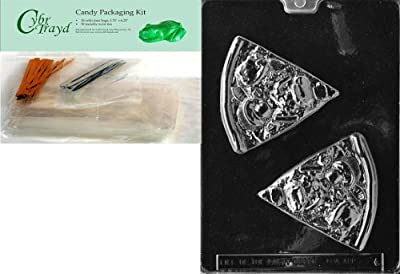 Cybrtrayd Mdk50-K086 Pizza Slice Kids Chocolate Candy Mold with Packaging Bundle, Includes 50 Cello Bags, 25 Gold and 25 Silver Twist Ties and Chocolate Molding Instructions