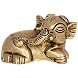 Kapasi Handicrafts Small Seating Brass Elephant (3 x 1.75 x 1.75 Inches)