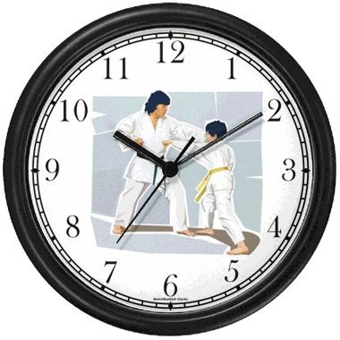 Boy and Man doing Karate or Judo Martial Arts Wall Clock by WatchBuddy Timepieces (Slate Blue Frame)