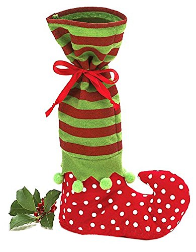 Elf Boot Striped Wine Bottle Bag