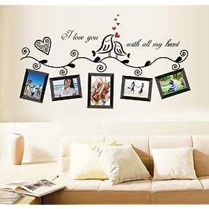 UfingoDecor Uccelli di Amore Romantico Photo Frame Adesivi Murali, Camera da Letto Soggiorno Adesivi da Parete Removibili/Stickers Murali/Decorazione Murale, Nere   recensione
