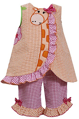 Baby-Girls Infant 12M-24M Orange Pink Giraffe Seersucker Top/Capri Pants Set, Or1Mh, Orange, Bonnie Jean, Baby-Girls Infant 12M-24M, Bbni