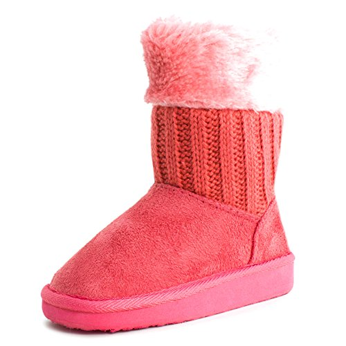 Girls Four Button Compty Knit Faux Suede Boots Coral 4 M Us Big Kid