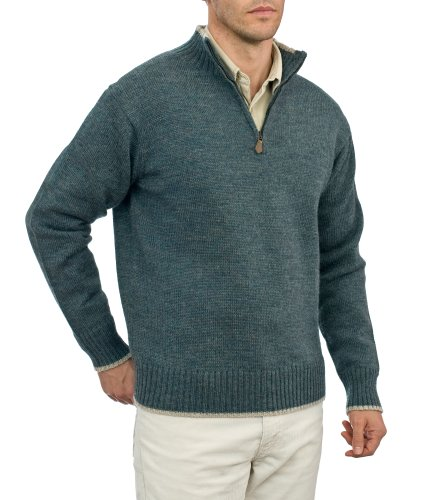 Mens Country Zip Neck Jumper Kiltimagh/Oatmeal Large