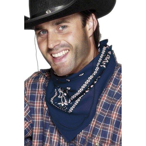 Bandana Halstuch Westernhalstuch Blau Cowboy Halstuch Western Hals Tuch Cowboy Sheriff Rodeo Kostüm Zubehör