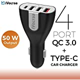 IVoltaa 3.0 & USB Type-C 50W 4-Port USB Car Charger For Galaxy S8/S7/S6/Edge/Plus,Note 5/4,iPhone 7/6s/+, IPad Pro/Air 2/mini,LG,Nexus,HTC,Xiaomi,1+