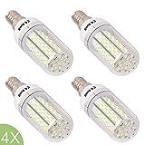 4* E14 Led Bulbs Day White 8W with 120 SMD-3014 Leds E14 Screw Led Lamp Crystal Led Lighting Bulbs AC95-260V Lamp E14 High Lumen 680-720LM Cool White Lighting 360 Degree Beam Angle Corn Bulbs