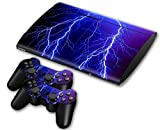 CSBC Skins Sony PS3 Super Slim Design Foils Faceplate Set - Lightning Design