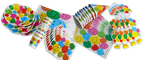 LolliZ Deluxe Party Pack for 8. Joyous Balloons, Color Smiley/White