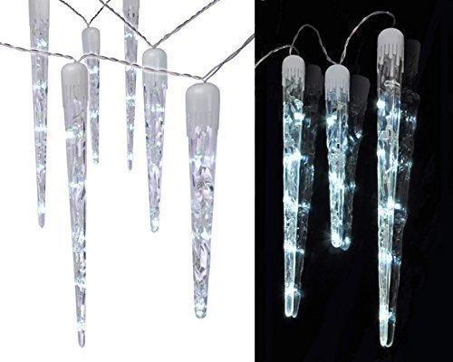 LED Lichterkette, 10 Eiszapfen, Lichtschlauch, kaltweiß, 6,35 Meter