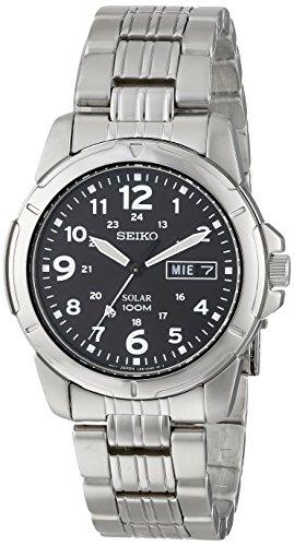 Seiko Black Solar Power Dial GMT Mens Watch SNE095