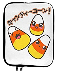 Japanese Kawaii Candy Corn Halloween 9 x 11.5 Tablet Sleeve - White Black