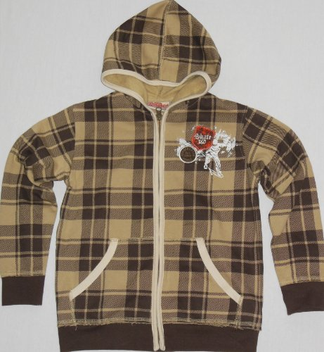 "Kids Headquarters Little Boys' ""Skate 360"" Plaid Hoodie (7, Brown) front-732932"