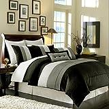 8 Pieces Black White Grey Luxury Stripe Duvet Cover Set King Size Bedding
