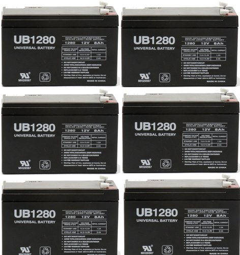 12V 8Ah Sealed Emergency Light Battery For General 01280 (Cf12V8) (Wka12-8F) - 6 Pack