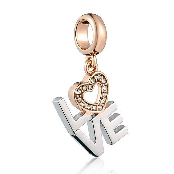 Sterling Silver Heart Love Valentine CZ Crystal Bead for European Charm Bracelet