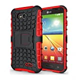CaseMachinee Flip Kick Stand Hard Dual Armor Hybrid Bumper Back Case Cover For LG L70 D325 Dual Sim - Red