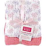 Hudson Baby Hudson Baby Muslin Swaddle Blankets, Pink Flowers, 2 Count