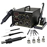 Zeny® 2in1 SMD Station Soldering rework Station Hot Air & Iron 852D+ ESD PLCC BGA w/ Stand 4 Nozzle 5 Tip 852D+